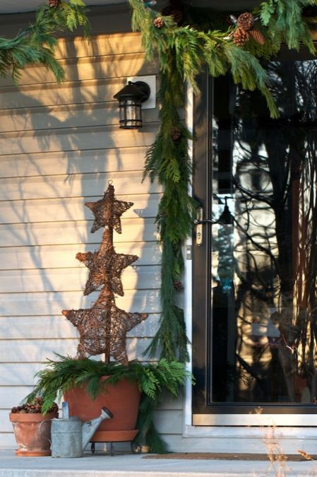 Natural Christmas decor featuring pine cones, terra cotta, natural pine garland & grapevine stars #christmas #holiday #decorHoliday Ideas, Front Doors, Christmas Holiday, Christmas Porches, Christmas Decor, Christmas Ideas, Crafts Stores, Holiday Decor, Front Porches