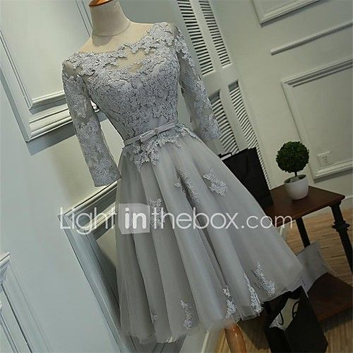 Cocktail Party Dress Ball Gown Scoop Knee-length Lace / Tulle with Lace / Sash / Ribbon 2017 - $79.99