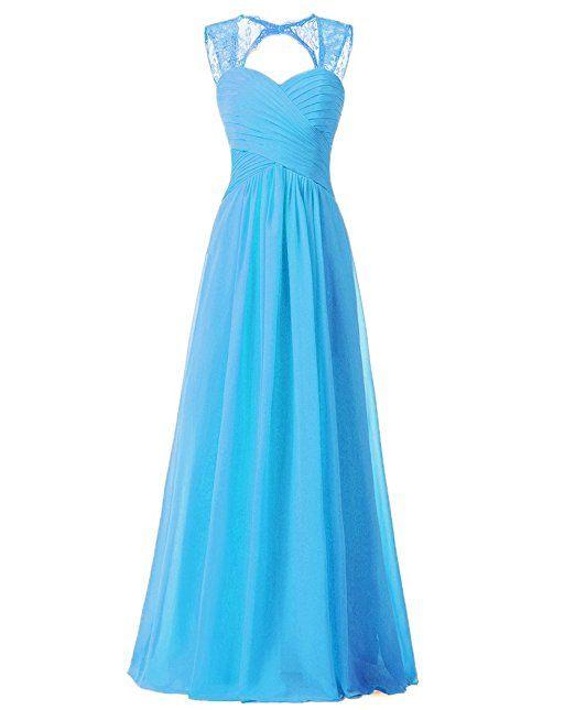 Vnaix A-linie Schatz Spitze mit Chiffon Abendkleid Brautjunferkleid Ballkleid Lang (54,Hellblau)