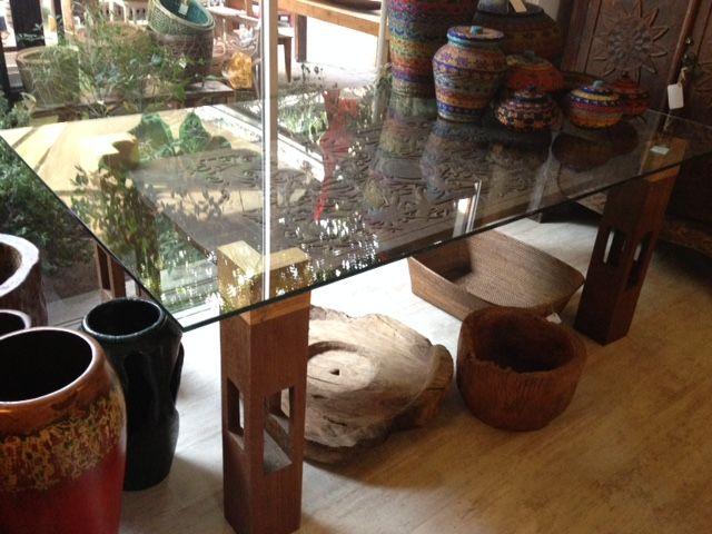 Comedor trozo madera tallado de la Isla de Kalimantan