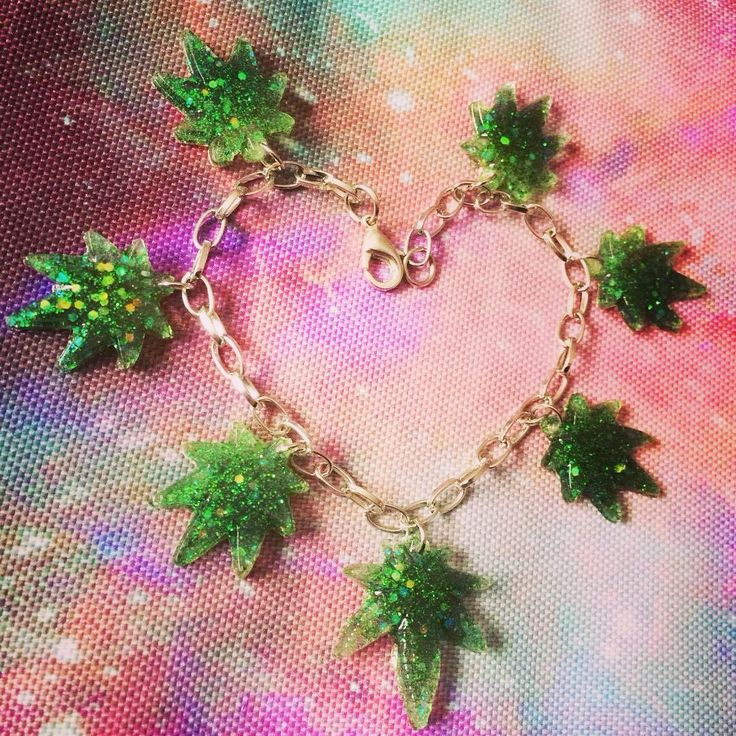 sorry for the repost. i guess i just really like this bracelet ✨   #cuteness #420 #potleaf #stoner #kawaiifashion #pastelgoth #90s #marijane #resinart