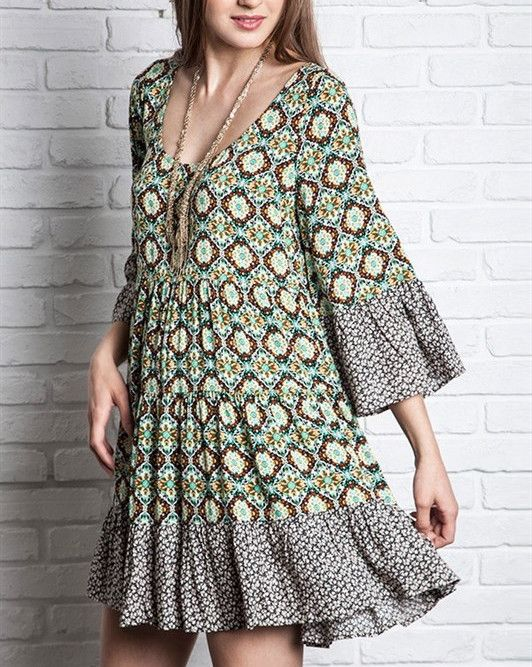 Boho Beauty Dress Country Print in Green and Chocolate Brown S M L