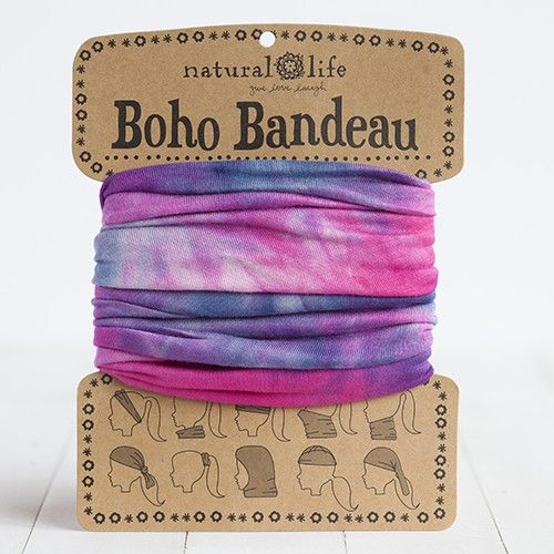 Our super-versatile pink, blue & white tie-dye boho bandeau looks great in every season. Wrap around your head, neck, wrist or ponytail, or wear it as a fun summer top. It's the perfect boho accessory for girls who love to change up their style!