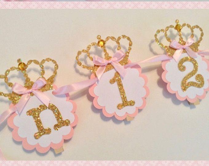 12 maand Foto banner prinses thema pasgeboren naar één jaar roze gouden munt zilveren verjaardag Foto banner