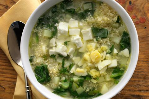 Quinoa Chowder with Spinach, Feta, and Scallions - the BEST warm meal for a cold night.  I omit egg.