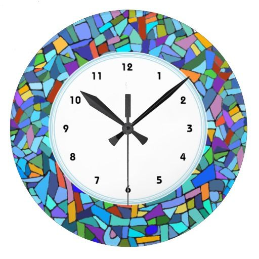 Abstract Stained Glass Pattern | Abstract Blue Mosaic Pattern numbered clock