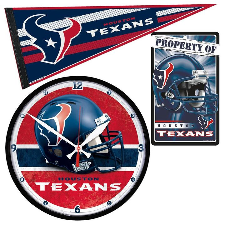 Houston Texans NFL Ultimate Clock, Pennant and Wall Sign Gift Set