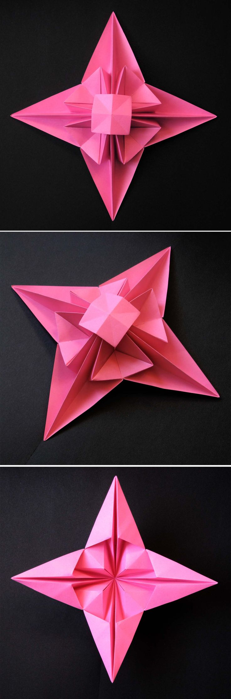 Origami folding flowers stars and animals as nursery room decoration - 3d Star Origami From One Uncut Square Of Copy Paper 21 X 21 Cm