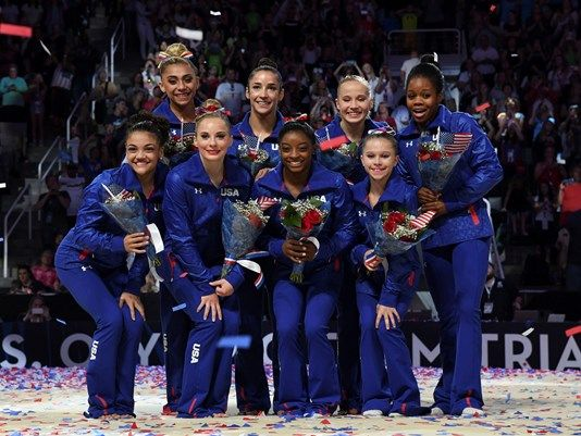 The 2016 Olympic women's gymnastics team representing us in RIO on August 5