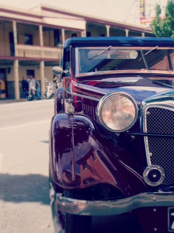 Vintage car on the main street of the township of Yass, NSW photo Liz Posmyk