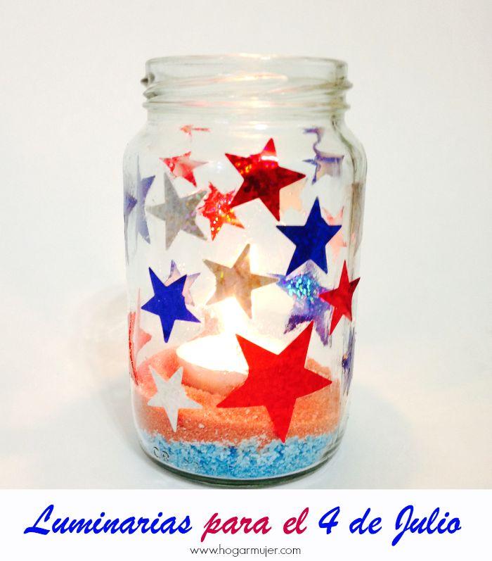 Luminarias patri ticas para el 4 de julio memorial day - Manualidades decorativas para el hogar ...