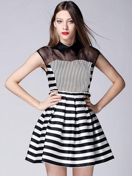 Paneled Net Mini Dress #stylewe #datement #party #stylish