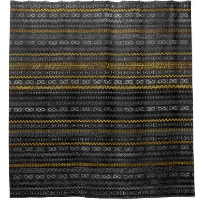 Gold and Silver Tribal Pattern on Black  wood Shower Curtain - shower curtains home decor custom idea personalize bathroom
