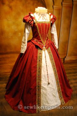 Elizabethan Red Gown-Elizabethan Partlet Pattern by Lynn McMasters-Elizabeth Costume Collection Simplicity 8881