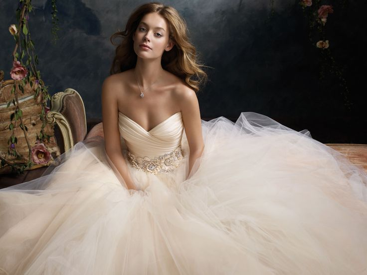 Sherbet tulle ball bridal gown, pleated silk satin organza bodice with sweetheart neckline, floral jewel encrusted band at natural waist, circular gathered skirt, chapel train. Bridal Gowns, Wedding Dresses by Lazaro - JLM Couture - Bridal Style LZ3108 by JLM Couture, Inc.