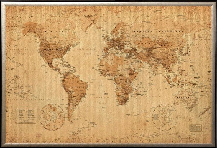 Amazon.com: FRAMED Perfect For Push Pins World Map Vintage for Tracking Trips 24x36 Poster in Real Wood Premium Gold Mist Detail Finish Crafted in USA: Prints: Posters & Prints