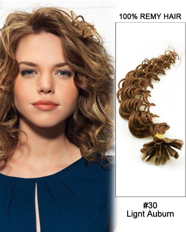 Wholesale Light Auburn Deep Wave Remy Hair Human Nail Tip U Extensions