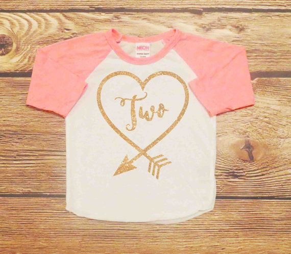 Second Birthday Shirt Baby Girl Gold Glitter by WindingArrow