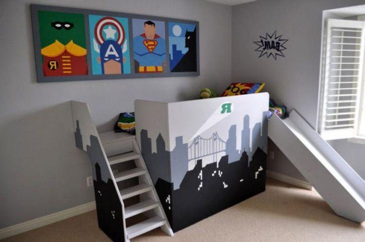 cool kids bedroom, with superhero pictures