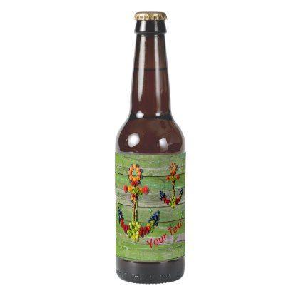 Fruits and Vegetables Love Anchor Beer Bottle Label - home decor design art diy cyo custom