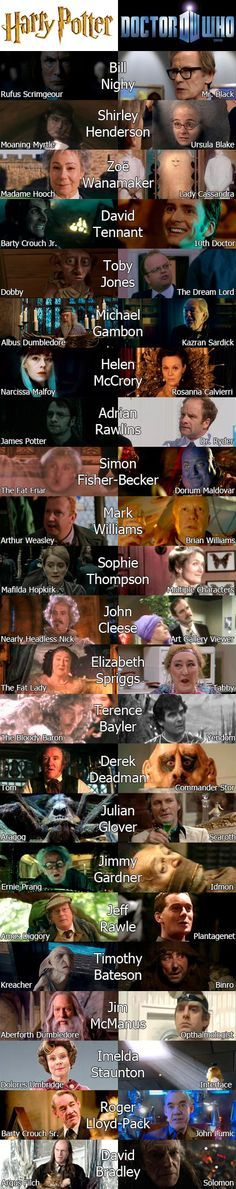 Actors who have been in both Harry Potter and Doctor Who. A couple are wrong, but I enjoy that it's also Classic Who that is in this.