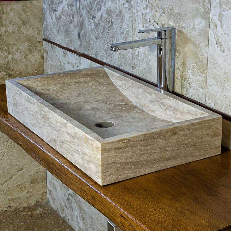wave ampio lavabo rettangolare intrevertino by pietra di rapolano world wide lavabo