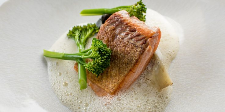 This elegant sea trout recipe from Graham Campbell is paired with a scallop mousse-filled tortellini, scallop velouté and beautiful tenderstem broccoli.