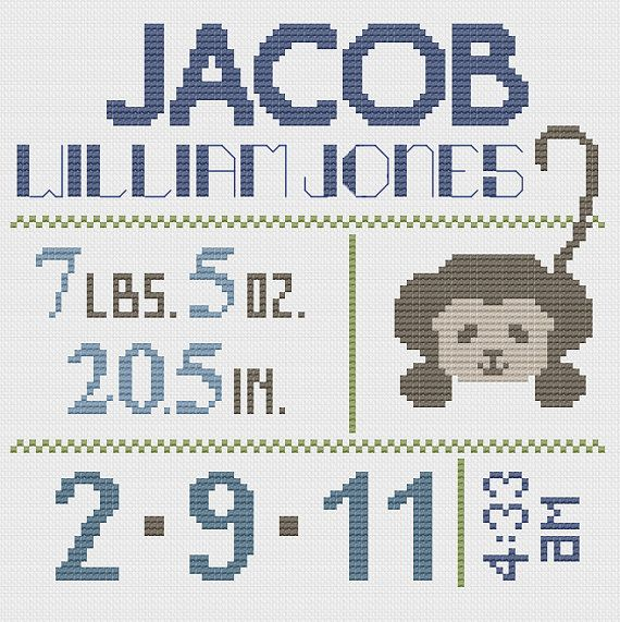 Customized Cross Stitch for Baby  Pattern  by piecesofcandycrafts