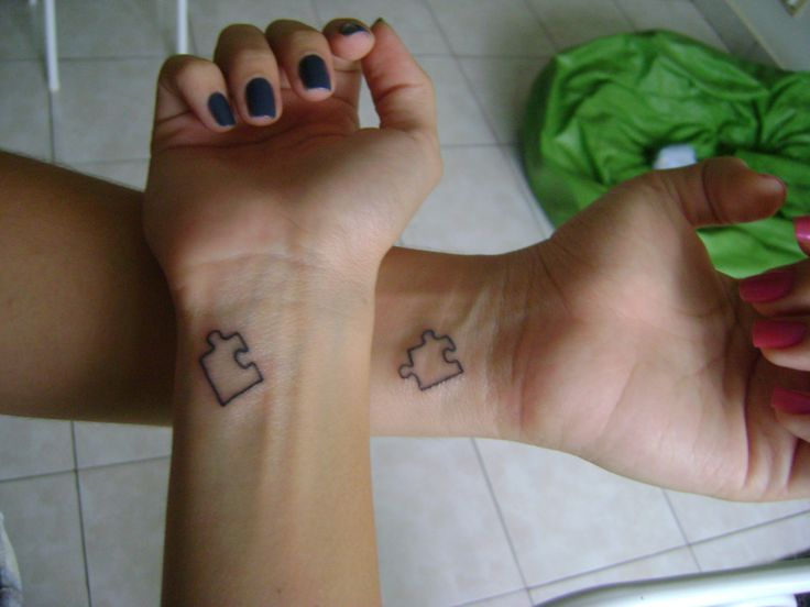 I love the idea of getting similar tattoos that are complete images on their own, yet go together so well.