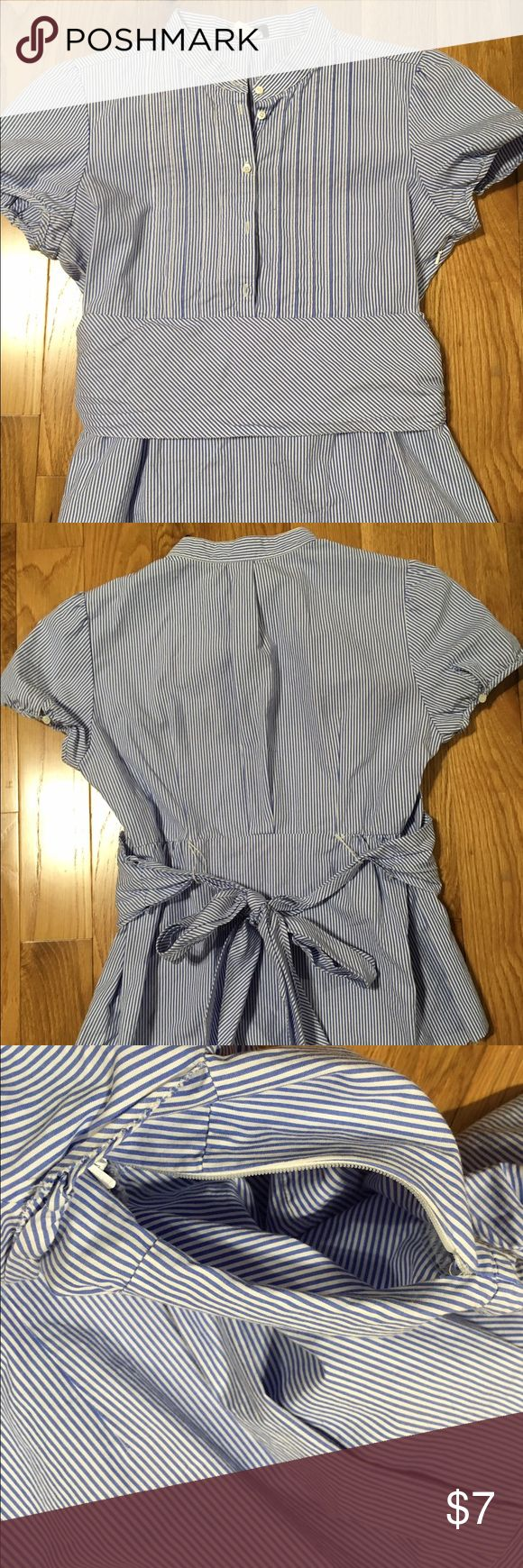 J Crew Girls Blouse This is a really cute girls blouse in a striped patten with a bow in the back by J Crew.  It is in great condition with no visible wear or stains. J. Crew Shirts & Tops Blouses