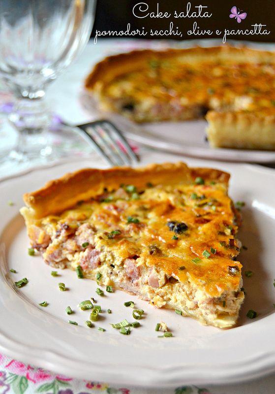 Cake salata con pomodorini secchi, olive e pancetta - dolci a go go!!!