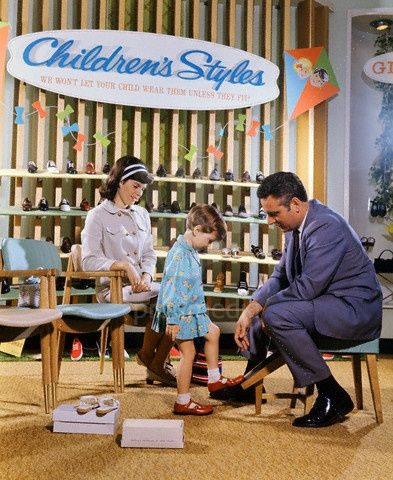 I remember.. shopping for school shoes.  An actual salesperson measured your foot and made trips back and forth to the mysterious back room in the store where all the shoes were kept.