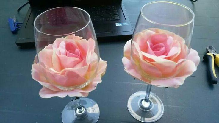 Roos verwerkt in glas