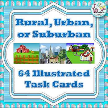 These 64 task cards with rural, urban and suburban clip art & real photographs will engage your students while learning about the community around them! A great supplement to your social studies unit on the community! This is a printable set, in PDF format.