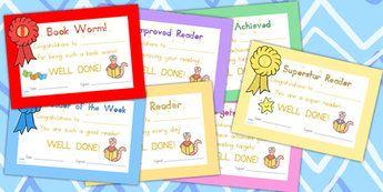 Editable Reading Certificate - reading, certificates, read, books