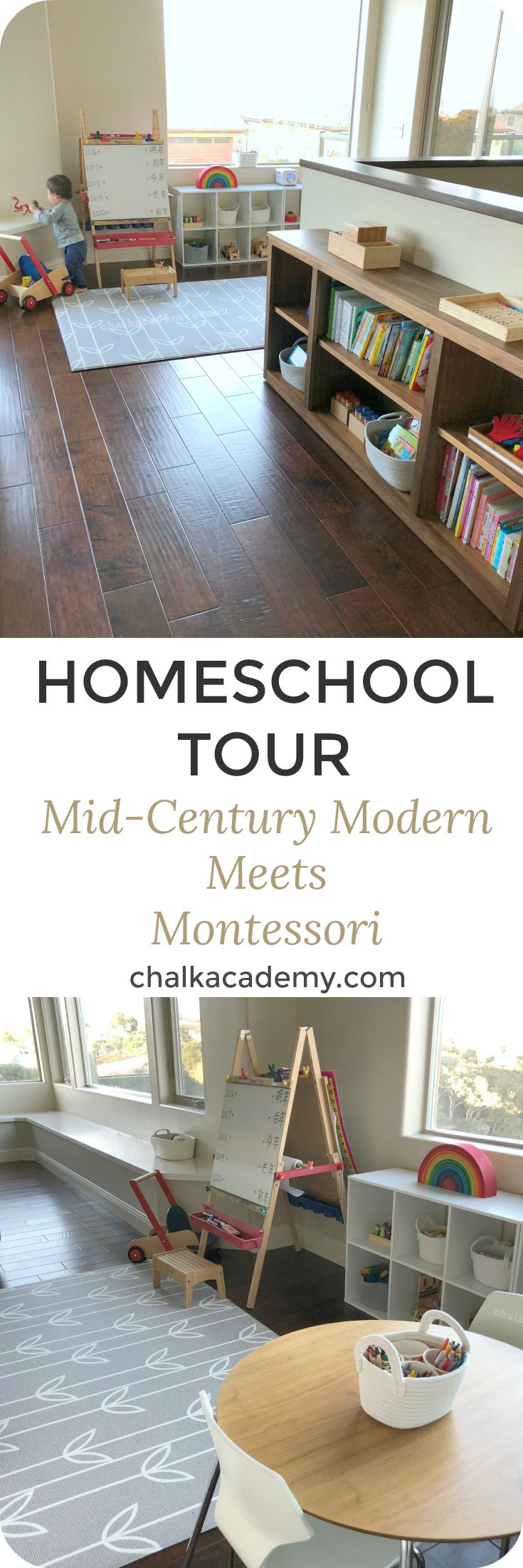 Homeschool Tour: Mid-Century Modern Meets Montessori; Open-concept living space | Shared playroom | Minimalist | Kon Mari | Preschool | Classroom | Prepared environment | Practical Life Skills | Playroom | Play area | Room & Board furniture