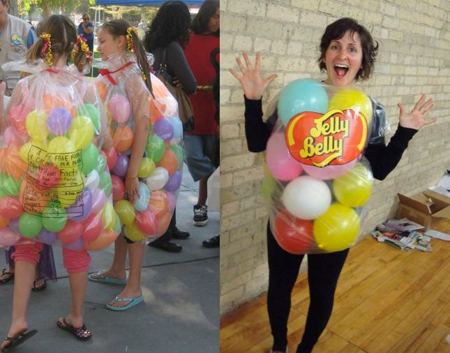 "Jelly Belly One of the simplest of the ""bunch,"" these jelly bean costumes take nothing but balloons and garbage bags to make. Easy peasy.  