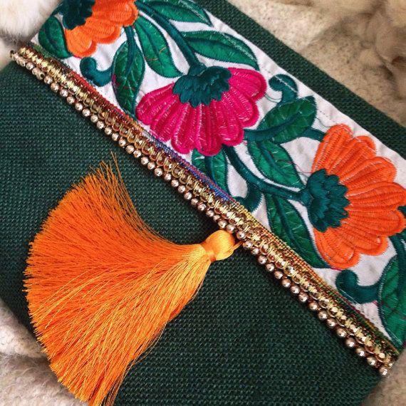 Verde Floral embrague embrague Bohemia Boho por BOHOCHICBYDAMLA