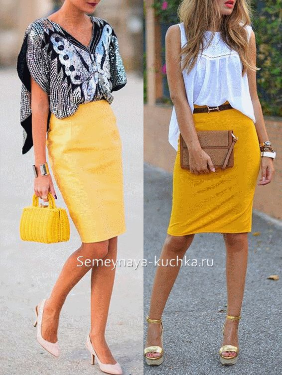 желтая юбка-карандаш с топом