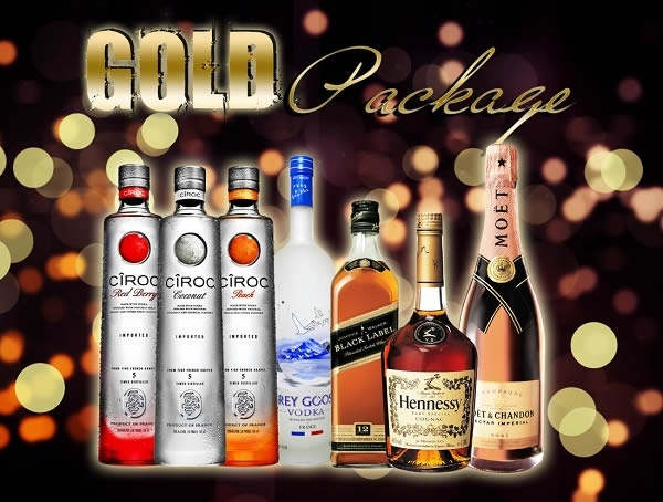 GOLD PACKAGE  Moet Nectar Rose Champagne plus two bottles of your choice:  Grey Goose Hennessy Ciroc (flavors available) Absolut Johnny Walker Black Chivas 12 Patron Silver Complimentary Bottle of Champagne included when you purchase this package. Tax and gratuity included.  $699.00 each