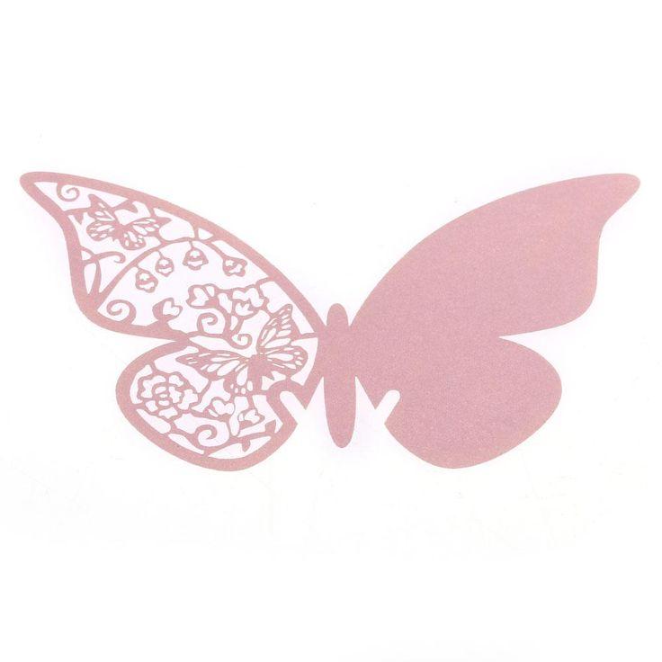 50x Стол Бокал Имя Место Карты Свадьба Лазерная Резка Бабочка Розовый Новый Свадебные Украшения купить на AliExpress