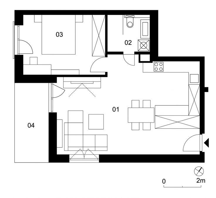 01 vstupná hala, kuchyňa, obývačka 37,0 m² 02 kúpeľňa s wc 4,2 m² 03 spálňa 14,6 m² 04 balkón 8,0 m²