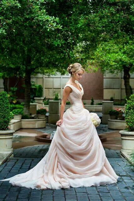 Light pink wedding dress ~~~ I'm in love with everything about this dress....wow.