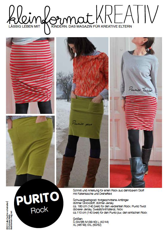 kleinformat kreativ PURITO Rock in Varianten SCHNITT (interesting knit skirt pattern, pdf download)