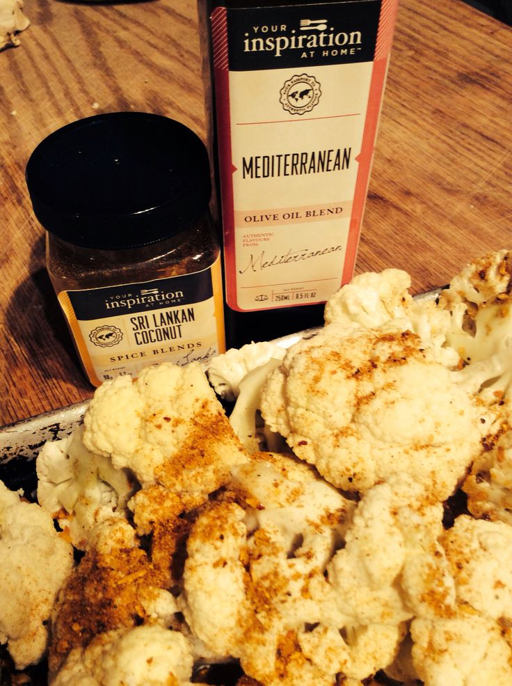 Start of dinner....#YIAH Sri Lankan Coconut & Mediterranean Olive Oil with roasted cauliflower!