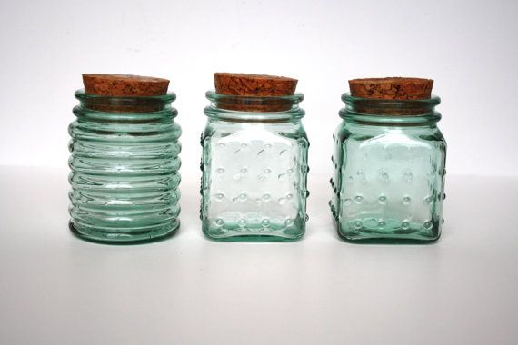 Vintage Small Glass Container with Cork Lid  Vintage by SissysHats