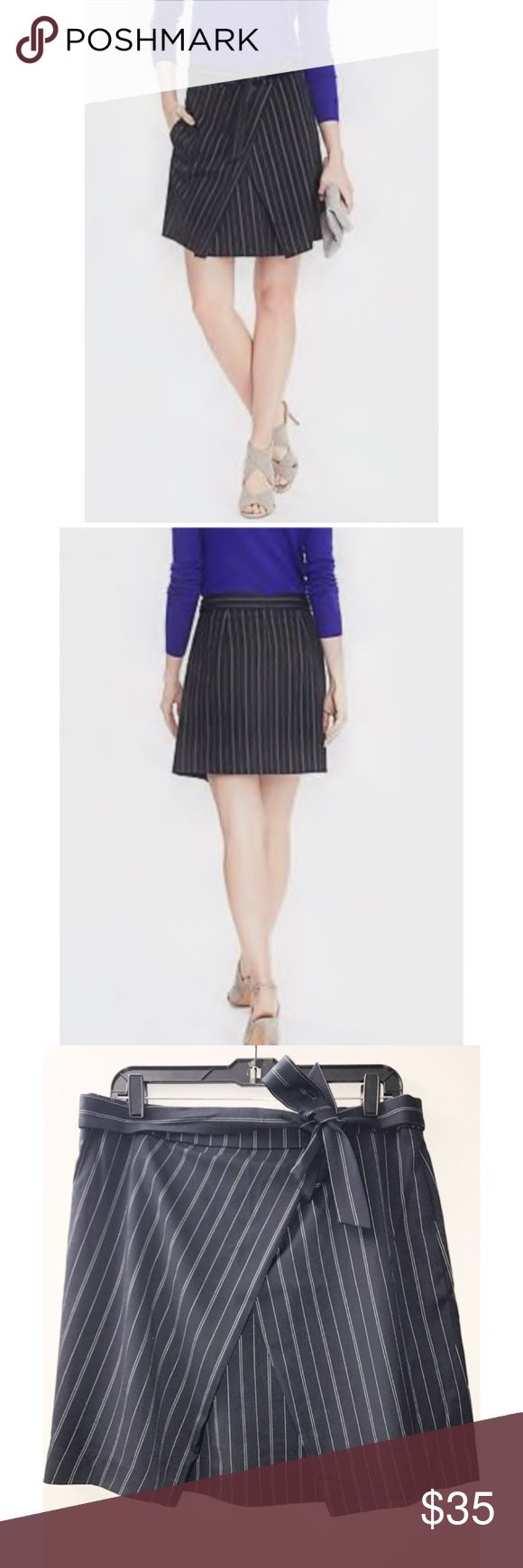 Banana Republic Front Tie Pinstripe Skirt NWT Banana Republic Front Tie Pinstripe Skirt size 8.  Navy with white pinstripes.  Has pockets. Banana Republic Skirts Mini