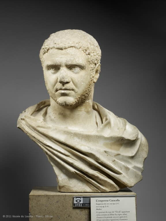 Emperor Caracalla, Roman bust (marble), 3rd century AD, (Musée du Louvre, Paris)...granted citizenship to all inhabitants of the roman empire,2nd Romano-african emperor