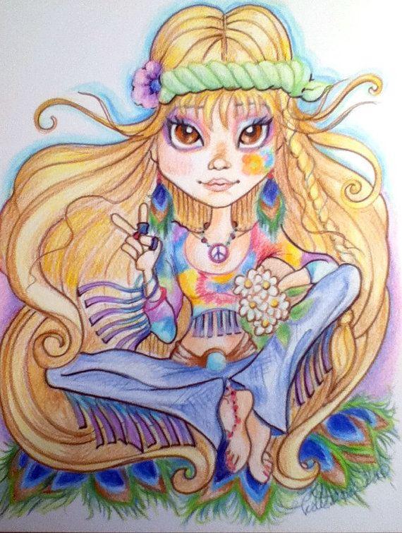 Hippie Chick Big Eye Fantasy Art Print 85 x 11 by rockandrollhart, $14.00