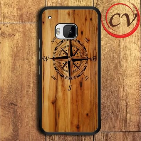 Wood Compass HTC One M9 Black Case